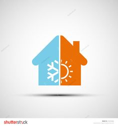 Logo home with climate control. Vector image.