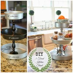 diy 3 tiered kitchen stand from Home Crafts, Home Projects, Diy Home Decor, Diy Crafts, Fall Crafts, Easter Crafts, Craft Projects, Cocina Diy, Diy Dog Bed