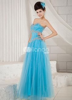 Blue Sweetheart Rhinestone Sequin Satin Net Prom Dress. See More SweetHeart at http://www.ourgreatshop.com/SweetHeart-C940.aspx