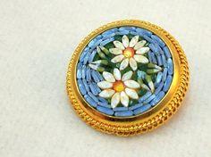 Vintage Italian Micro Mosaic Pin - Floral Daisy Brooch