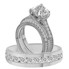 3.75Ct Asscher Cut Engagement Ring & Matching Band In 925 or 10k or 14k Gold
