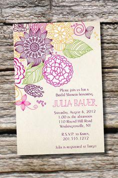 VINTAGE FLORAL Sketch Bridal Shower/ Baby Shower Invitation - You Print, DIY…