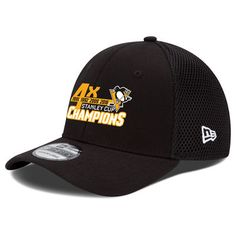 cf2651598d0 Men s Pittsburgh Penguins New Era Black 2016 Stanley Cup Champions 4-Time  39THIRTY Flex Hat