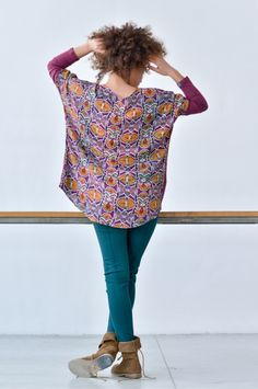 Bluzka Inkkas śliwkowa www.kokoworld.pl #kokoworld #fashion #blouse #ethno #africa #handmade