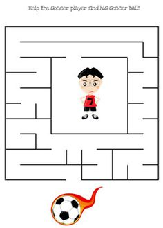 In this set of printable soccer maze games you will need to help the soccer player get to his soccer ball! There are three levels of difficulty in this printable soccer maze set - easy, Maze Games For Kids, Mazes For Kids Printable, Soccer Crafts, Soccer Theme, Kids Soccer, Preschool Crafts, Activities For Kids, Printables, Maze