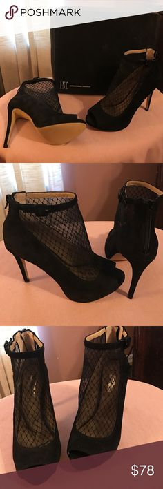 """Designer Shoes New w/Box!  Peep Toe Synthetic Suede Booties have decorative buckle and back zipper closure with 4.75"""" Heel and 1/2"""" Concealed Platform!  Shoe Style is """"Sicili""""!  All Serious Offers Considered!  Please No Low Balling🌹 INC International Concepts Shoes Ankle Boots & Booties"""