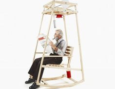 Damien Ludi and Colin Peillex, students at the University of Art and Design Lausanne, have come up with a rocking chair that knits as you sway back and for