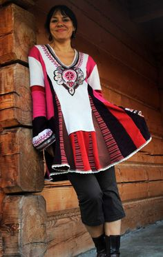 Russian folk recycled sweater tunic gypsy boho