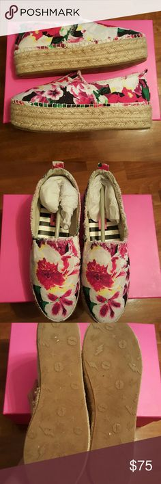 Betsey Johnson Floral Platforms Brand new, in box! Size 6.5 (true to size) Fabric upper, fabric lining. PU sock.  Offers welcome! Betsey Johnson Shoes Platforms