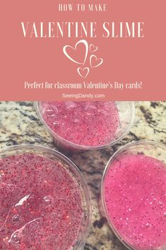It's so easy to make Valentine Slime. Kids love it and it's perfect for to give out as classroom Valentine's Day cards! Get the recipe HERE.
