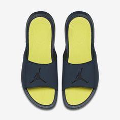 74313f063b7283 Jordan Hydro 6 Mens 881473-415 Armory Navy Electrolime Slide Sandals Size  14  Jordan