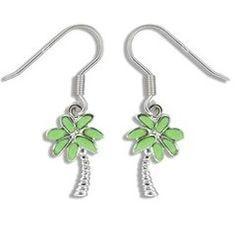 Sterling Silver Hawaiian Green Turquoise Palm Tree Earrings S