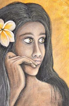 Beautiful Tahitian girl Pani painted in Acrylic on fabric measures 30cm x 30cm.