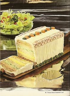 Cream cheese sandwich loaf, from 20 frosted party sandwich loaf recipes to make. Cream Cheese Sandwiches, Party Sandwiches, Loaf Recipes, Cake Recipes, Cooking Recipes, Retro Recipes, Vintage Recipes, Sandwich Loaf, Weird Food