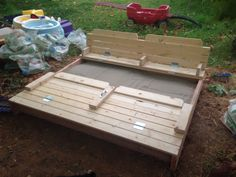 "A DIY sandbox where the lid converts into two full-length seats. Dimensions are 5'x6'. Slat spaces are 1/2""."