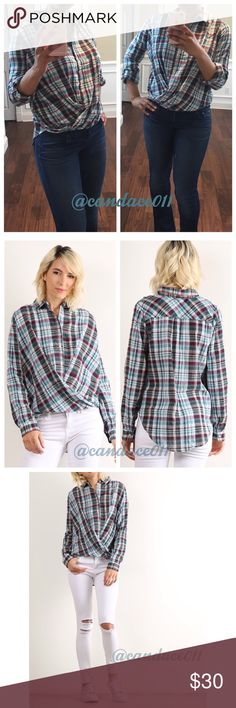 Plaid Wrap Front Cotton Button Down ✳️Feel free to make a reasonable offer. 👍 ✳️ 🔹Can be worn long sleeved or 3/4 sleeved 🔹99% Cotton, 1% Polyester 🔹Collared button down. 🔹High-Low hem. 🔹Size Reocommendations: S (2-4), M (6-8), L (10-12) 🔸I'm wearing a Medium in the pic.🔸 CC Boutique  Tops Button Down Shirts