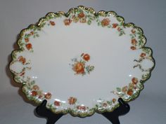 Haviland Limoges 11 Oval Platter Tray H2628 Green Gold