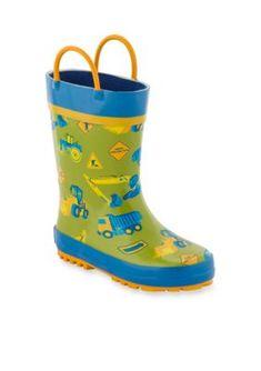 4792417f5d0 Stephen Joseph AOP Construction Rain Boots Boy Toddler-Youth