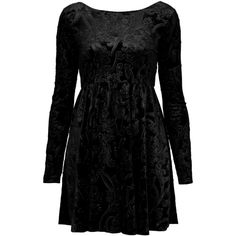 **Wildrice Dress by Motel (70 AUD) ❤ liked on Polyvore featuring dresses, vestidos, black, long sleeve dress, velvet babydoll dress, long sleeve babydoll dress, baroque print dress and motel dresses