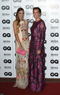 In-sync: Mother and daughter Yasmin (R) and Amber Le Bon showcase a floral theme through their red carpet outfits