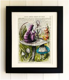 ART PRINT on old antique book page - Alice in Wonderland, Caterpillar, Vintage Upcycled Wall Art Print, Encyclopaedia Dictionary Page, Gift by thebluebutterflyemp on Etsy