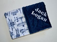 Minky Baby Blanket: White and Navy Blue Vintage Airplane print minky on one side and Navy Blue Minky Dot on the other. This blanket is approx. 29 x 35. It is Perfect for a crib, car seat or stroller. Blankets are zigzag topstitched to increase stability and wear. Each blanket comes wrapped in a satin ribbon with a tag containing care instructions. ***You have the option to PERSONALIZE the time of purchase. At checkout, please leave the following info in the notes to sell...