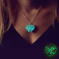 Vienkim In The Dark Stone Luminous Pendant Crystal Hollow Heart Pendants Necklaces For Women Men Jewelry Halloween Gifts for Sale in Richardson, TX - OfferUp Jewelry Gifts, Jewelry Necklaces, Jewelry Accessories, Hollow Heart, Heart Pendant Necklace, Heart Pendants, Color Plata, Halloween Jewelry, Stone Heart