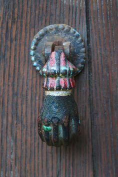 Painted Hand Door Knocker, Mirepoix, France