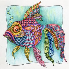 fish tangle would be good as a silk painting Tangle Doodle, Tangle Art, Doodles Zentangles, Zen Doodle, Zentangle Patterns, Doodle Art, Fish Zentangle, Colorful Fish, Tropical Fish