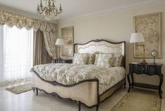 Traditional Master Bedroom with Chandelier, Concrete tile, Crown molding