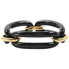 18k Yellow Gold and Onyx Link Bracelets