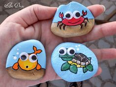 Painted rocks, tiles, wood, etc, then BIG google eyes attached - darling!!!