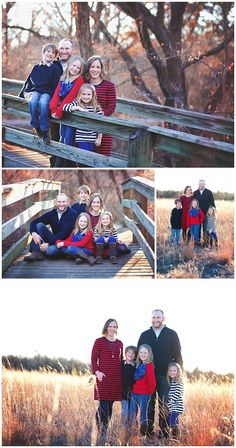 Family Pictures in a field and on a bridge.
