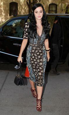 Floral dress & lace-up heels