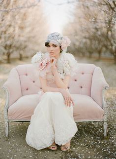 Photographer: This Modern Romance/Hair + Makeup: KC Witkamp/Production: Be Inspired PR/Hair Pieces: Erica Elizabeth Designs/  Dress: Claire Pettibone / Couch: Found Vintage Rentals