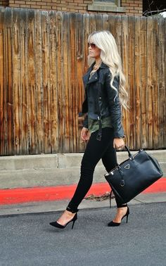 Fall Outfit With High Heel Pumps and Leather Jacket