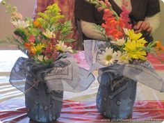 mason jars wrapped in bandanas, great for hoedown party or picnic
