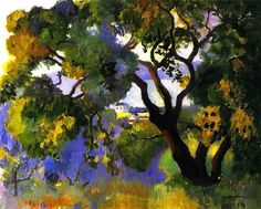 Henri Manguin- Landscape at St Tropez . I love that tree and the landscape seen through it in the distance.