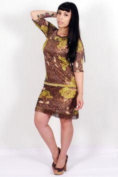 Olive Green Floral Lace Dress by SpanishThreads on Etsy, $70.00