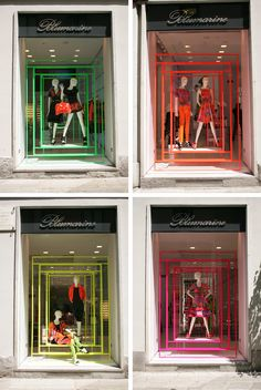 Neon Windows in Milan Italy.