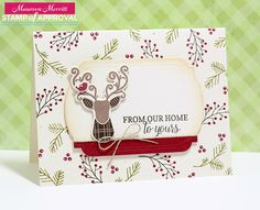 Maureen Merritt for Stamp of Approval featuring the Candy Cane Lane Collection...Merry & Bright Boughs, Hip Holiday stamp set & dies, Candy Cane Lane and the Merry Label Dies.
