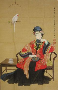 by Zhao Guo Jing 赵国经工笔仕女图