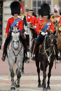 Prince William, Duke of Cambridge (L) and Charles, the Prince of Wales (R) at the Trooping the Colour ceremony in Horseguards Parade, London 15/6/2012