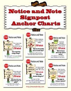 This 7 page PDF file contains all 6 anchor charts for the six Notice and Note signposts:  Contrasts and Contradictions Words of the Wiser Again and Again Aha Moment Memory Moment Tough Question  These are discussed in the book  Notice & Note: Strategies for Close Reading, by Beers and Probst.