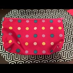 Pink Polkadot Makeup Bag Used it for less than a week. Has 2 stains on the inside. Dimensions: 7.5 x 4.5 x 3.5 Other