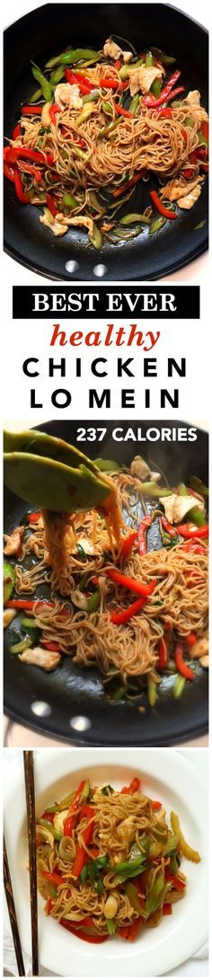 The best healthy chicken lo mein recipe (237 calories)! It?s easy, quick, and so good you won?t need to order takeout!