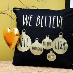 Personalised Christmas Bauble Cushion