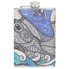 zentangle steam punk octopus flask