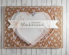 Herzlichen Glückwunsch, geht für so vieles...💗 Hier eine edlere Variante für eine Hochzeit, kombiniert mit dem tollen Muskatpapier von… Allg, Frame, Painting, Home Decor, Paper, Card Wedding, Birthday, Picture Frame, Decoration Home