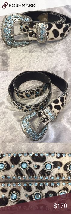 Swarovski crystal calf hair Leatherock belt Authentic belt by Leatherock. Leather, calf hair with Swarovski crystals. In overall good condition. I don't see any crystals missing. Belt size is 34. I offer personalized bundle discounts  Leatherock !  Accessories Belts